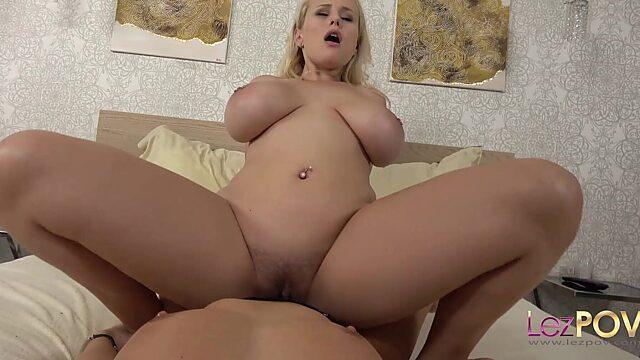 big tits lesbian strap on