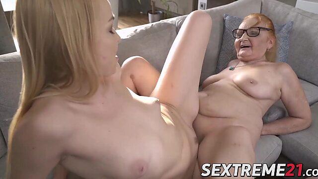 grandma lesbian eats young a